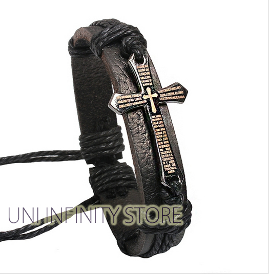 JWLB0029 Gelang Kulit Pria Salib (Cross Leather Bracelet)