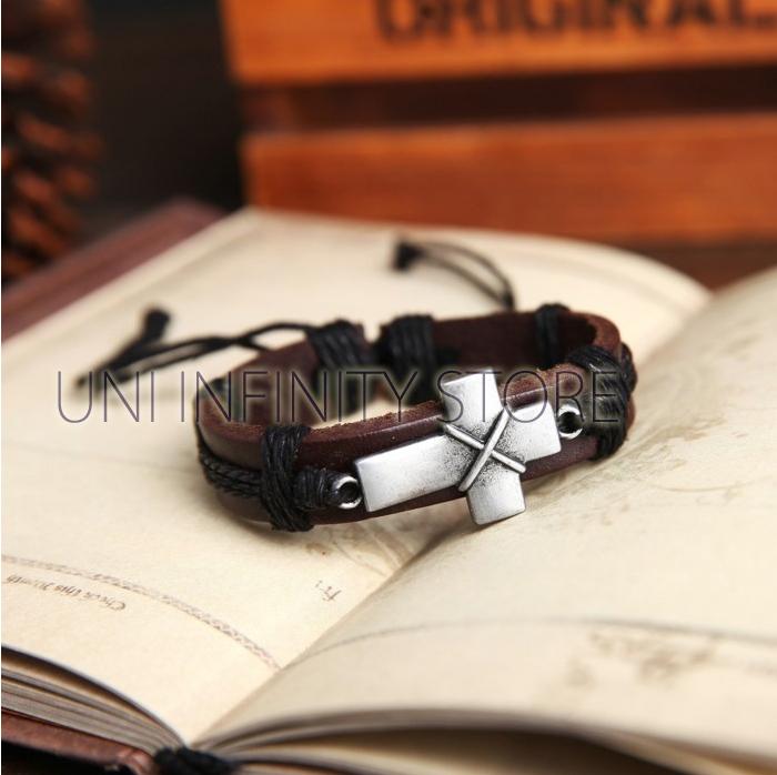 JWLB0033 Gelang Kulit Pria Salib (Cross Leather Bracelet)