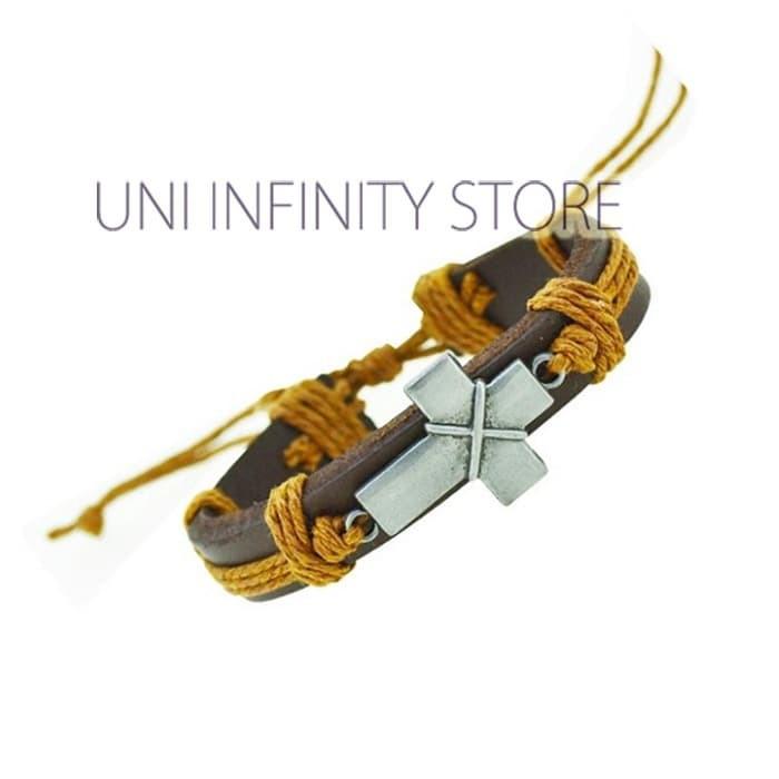JWLB0033 Gelang Kulit Tali Coklat Muda Salib Cross Leather Bracelet