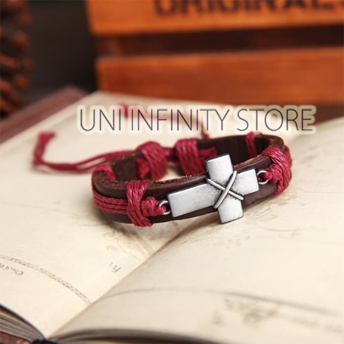 JWLB0033 Gelang Kulit Tali Merah Salib Cross Red Rope Leather Bracelet