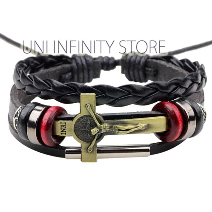 JWLB0307 Gelang Kulit Hitam Salib INRI Bronze Cross Black Leather Brac