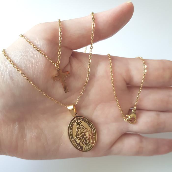 Kalung Dobel Maria Salib Titanium Gold