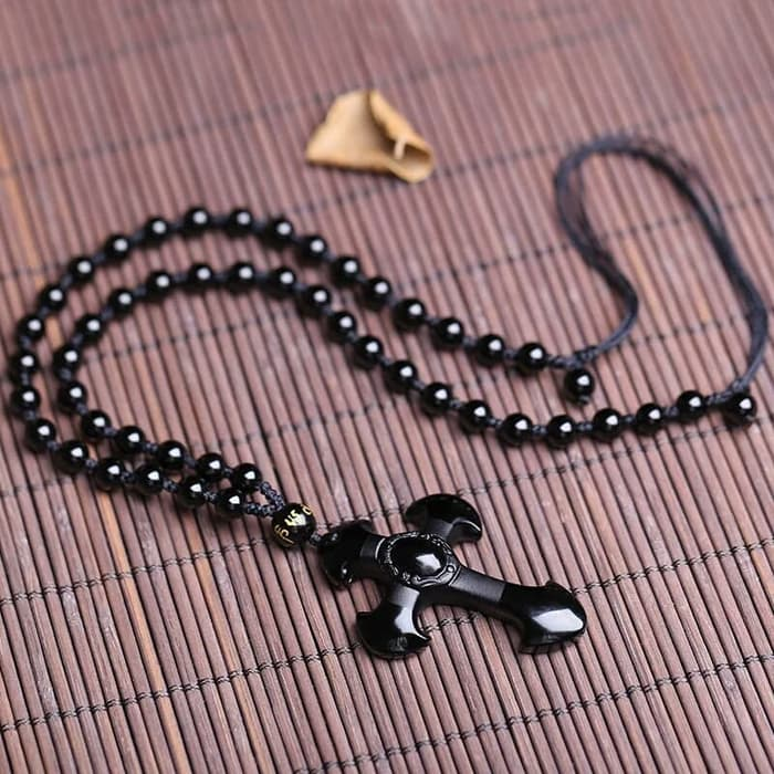 Kalung Salib Obsidian liontin salib - KalungManik