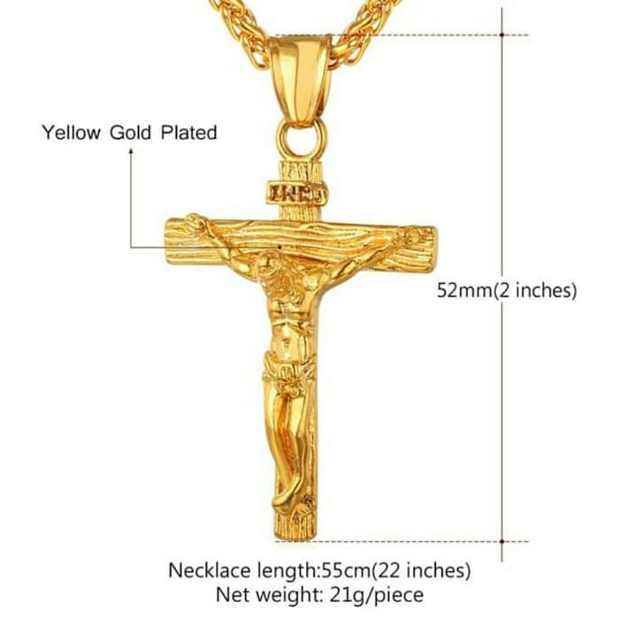 Kalung Salib liontin Yesus - Titanium